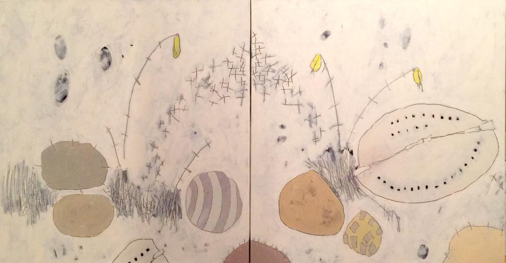 Pebbles & Milkweed III, Acrylic on canvas (diptych), 36x72, 2017