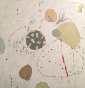 Pebbles & Milkweed, Acrylic on canvas, 48x48, 2017