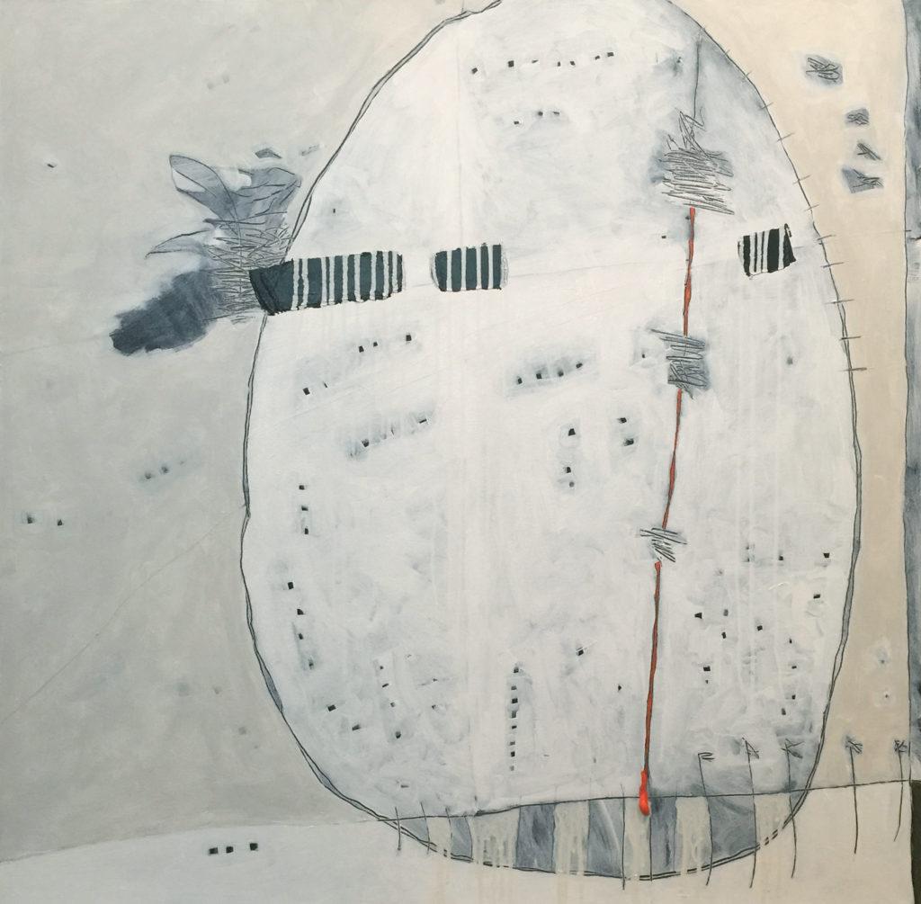 White Boulder, Acrylic on canvas, 40x40, 2017